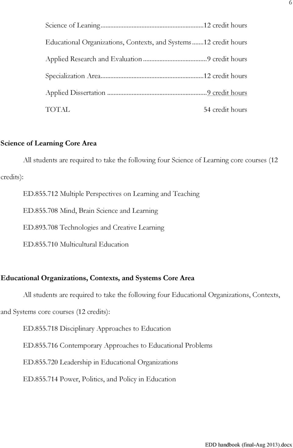 .. 9 credit hours TOTAL 54 credit hours Science of Learning Core Area All students are required to take the following four Science of Learning core courses (12 credits): ED.855.