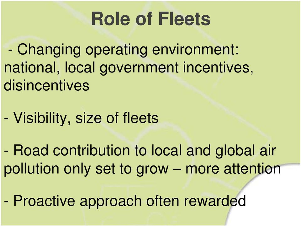 of fleets - Road contribution to local and global air