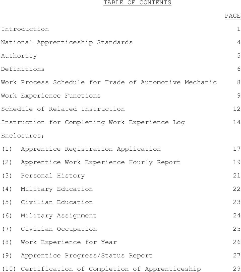 Application 17 (2) Apprentice Work Experience Hourly Report 19 (3) Personal History 21 (4) Military Education 22 (5) Civilian Education 23 (6) Military