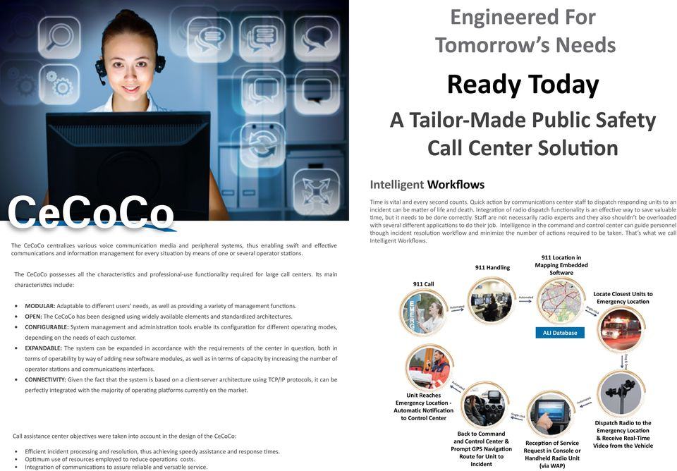 The CeCoCo possesses all the characteristics and professional-use functionality required for large call centers.