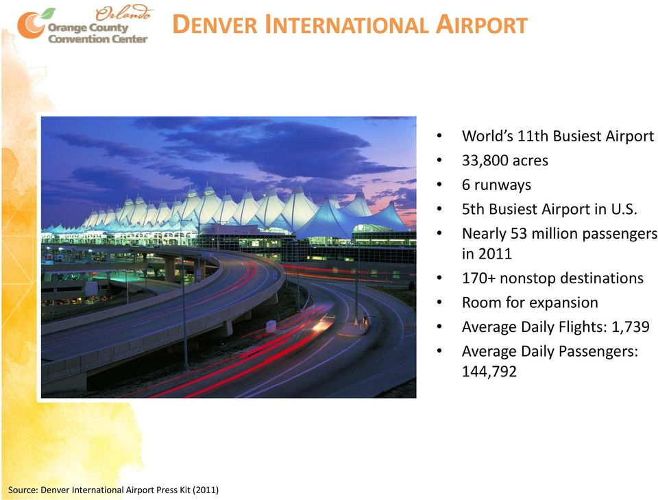 Nearly 53 million passengers in 2011 170+ nonstop destinations Room for