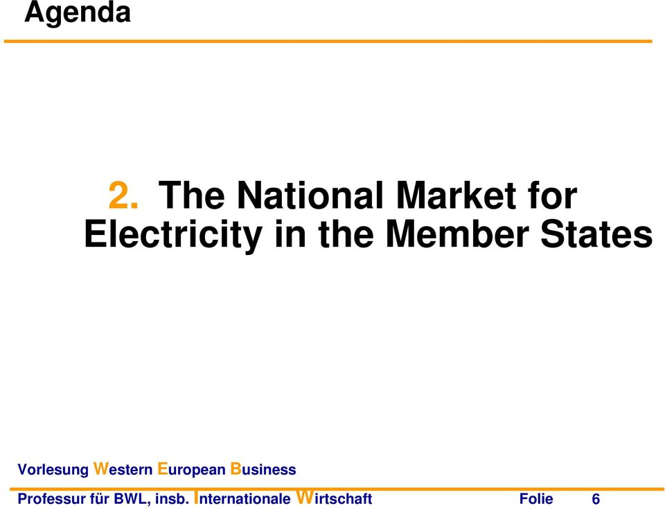 Electricity in the Member