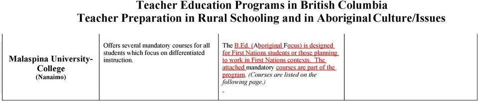 (Aboriginal Focus) is designed for First Nations students or those planning to work in