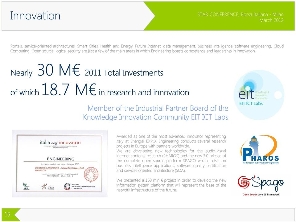 7 M of which in research and innovation Member of the Industrial Partner Board of the Knowledge Innovation Community EIT ICT Labs Awarded as one of the most advanced innovator representing Italy at