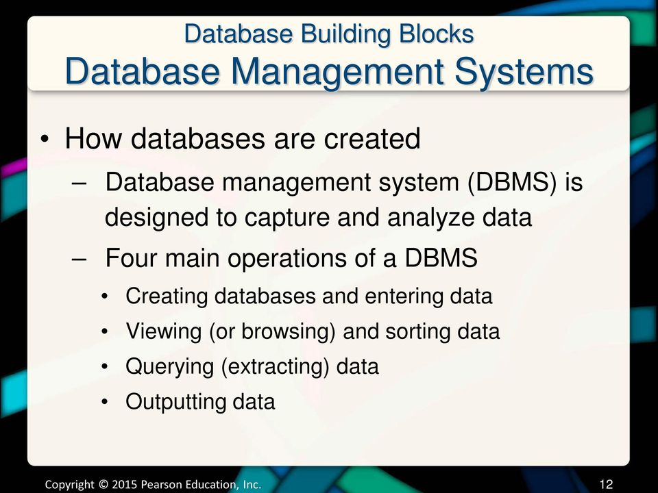 operations of a DBMS Creating databases and entering data Viewing (or browsing) and