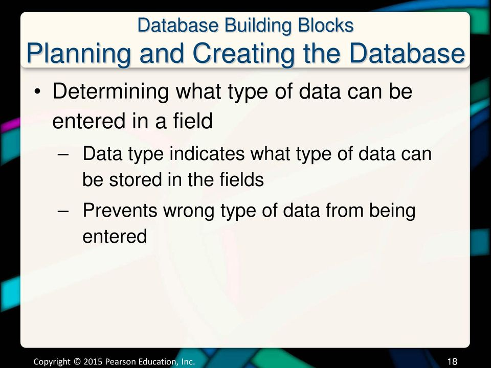 indicates what type of data can be stored in the fields Prevents