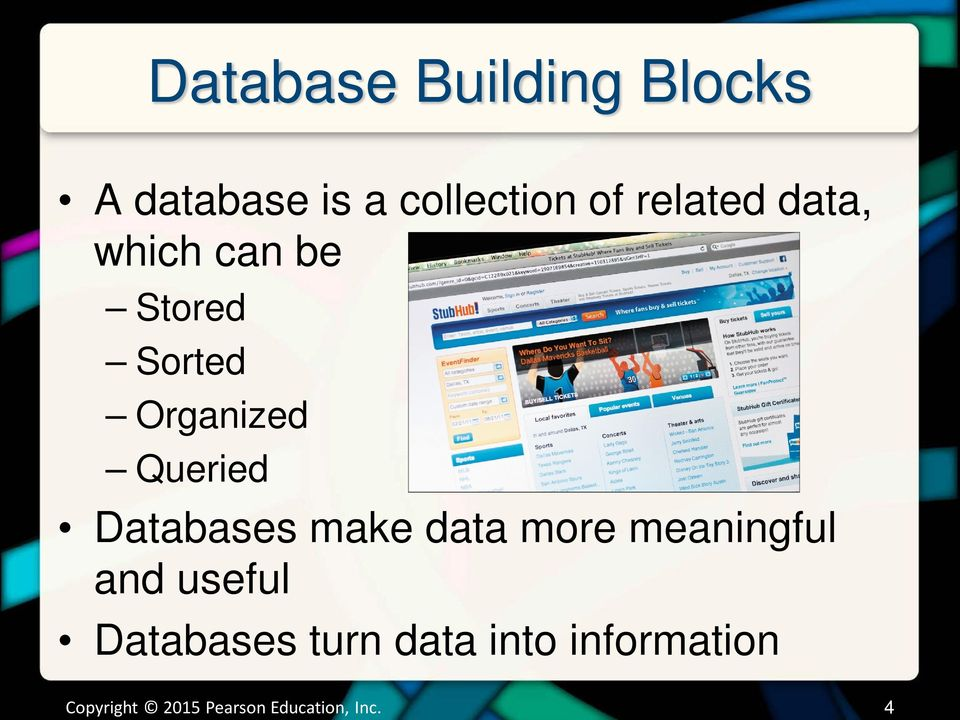 Databases make data more meaningful and useful Databases