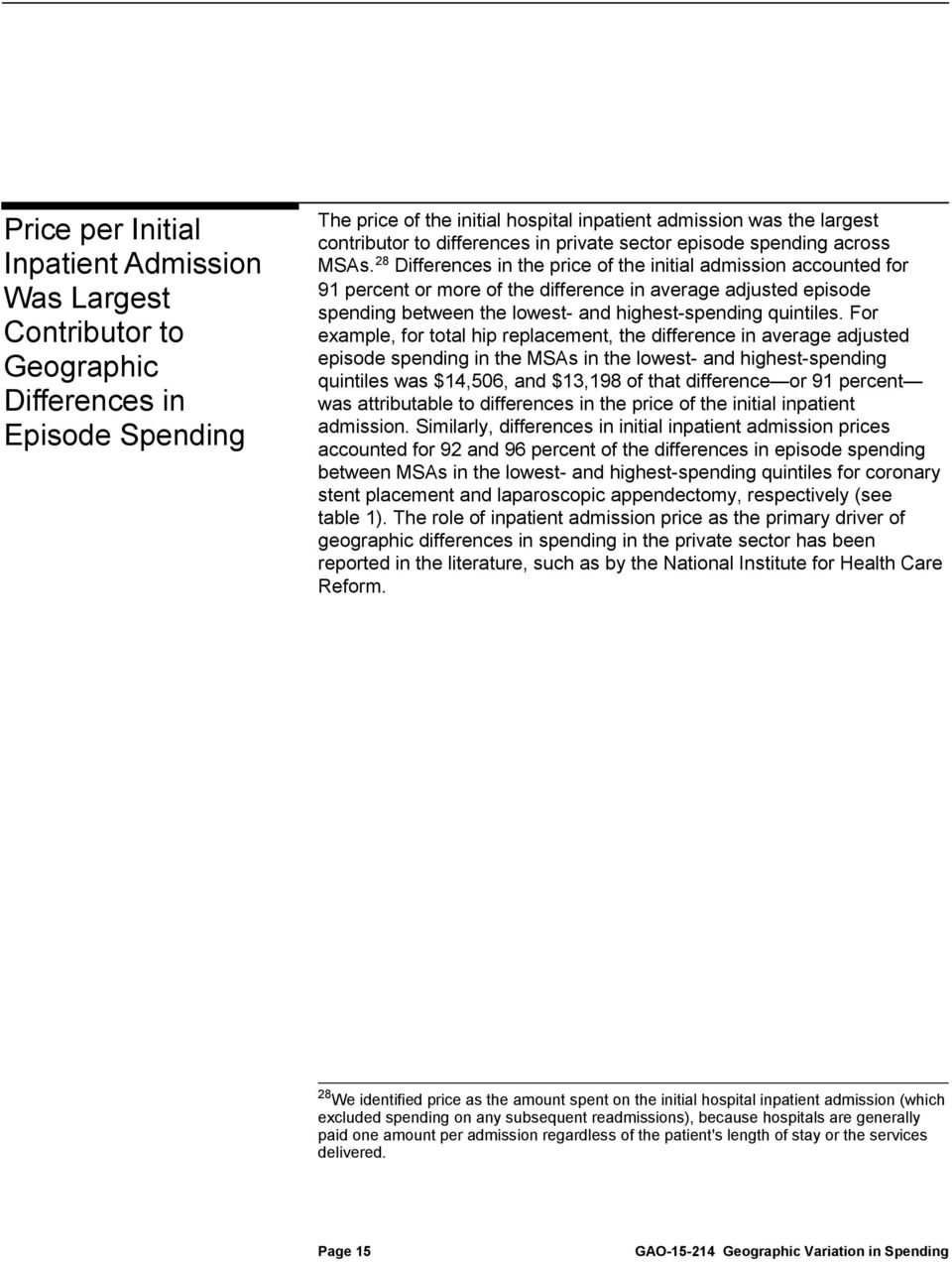 28 Differenes in the prie of the initil dmission ounted for 91 perent or more of the differene in verge djusted episode spending etween the lowest- nd highest-spending quintiles.