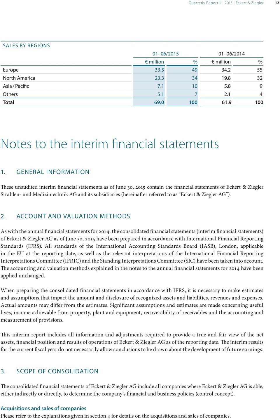 GENERAL INFORMATION These unaudited interim financial statements as of June 30, 2015 contain the financial statements of Eckert & Ziegler Strahlen- und Medizintechnik AG and its subsidiaries
