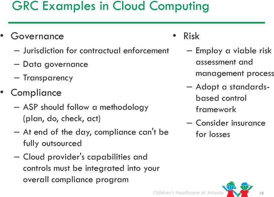 outsourced Cloud provider's capabilities and controls must be integrated into your overall compliance program Risk