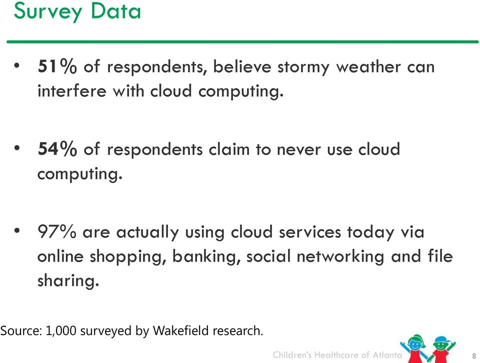 97% are actually using cloud services today via online shopping, banking,