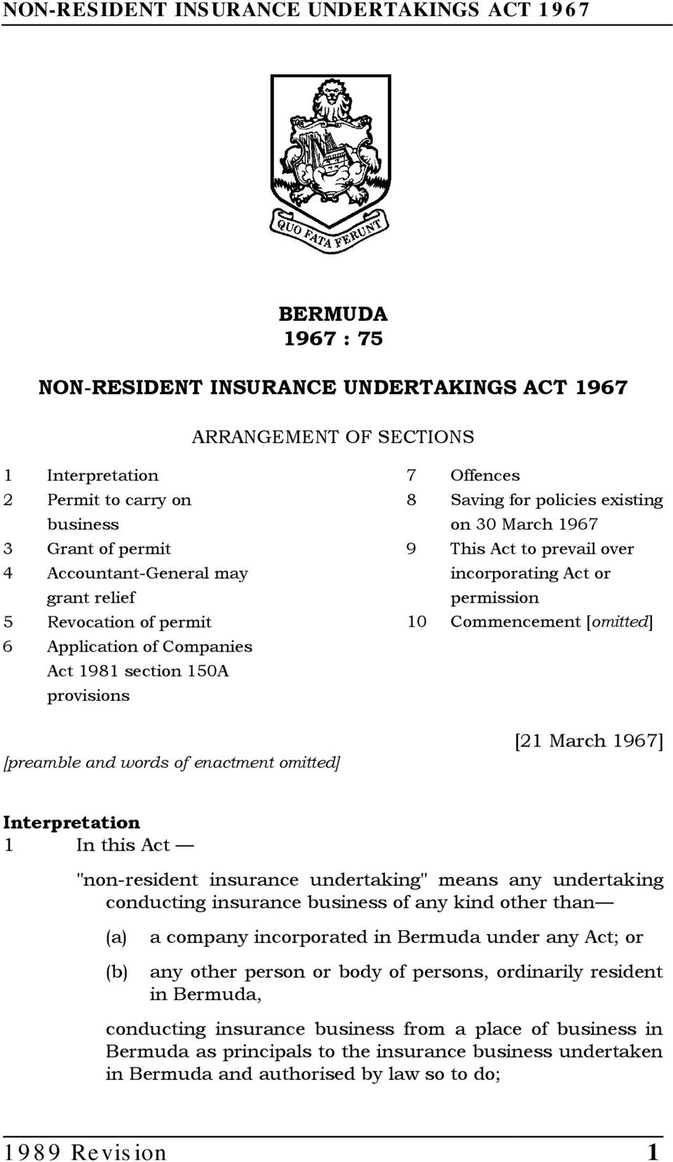 "prevail over incorporating Act or permission 10 Commencement [omitted] [21 March 1967] Interpretation 1 In this Act ""non-resident insurance undertaking"" means any undertaking conducting insurance"