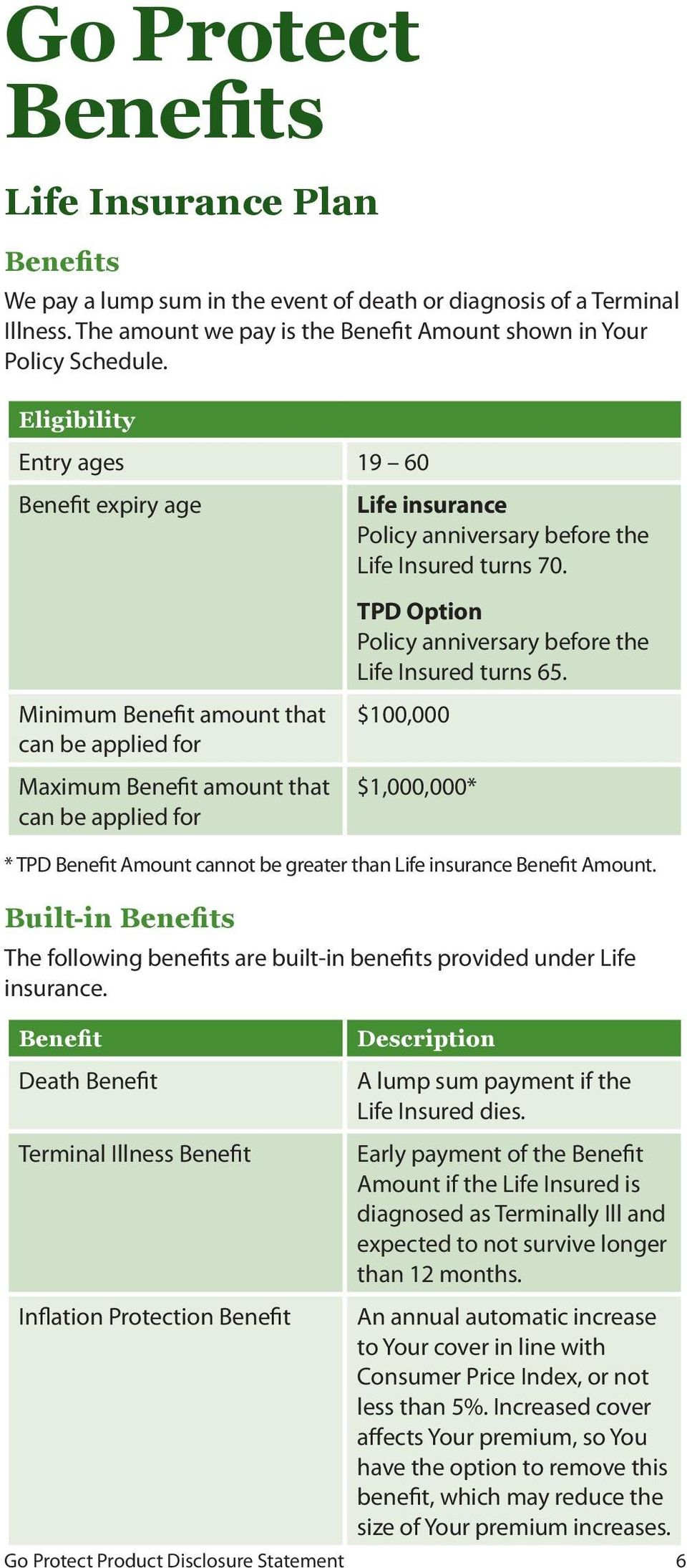 turns 70. TPD Option Policy anniversary before the Life Insured turns 65. $100,000 $1,000,000* * TPD Benefit Amount cannot be greater than Life insurance Benefit Amount.
