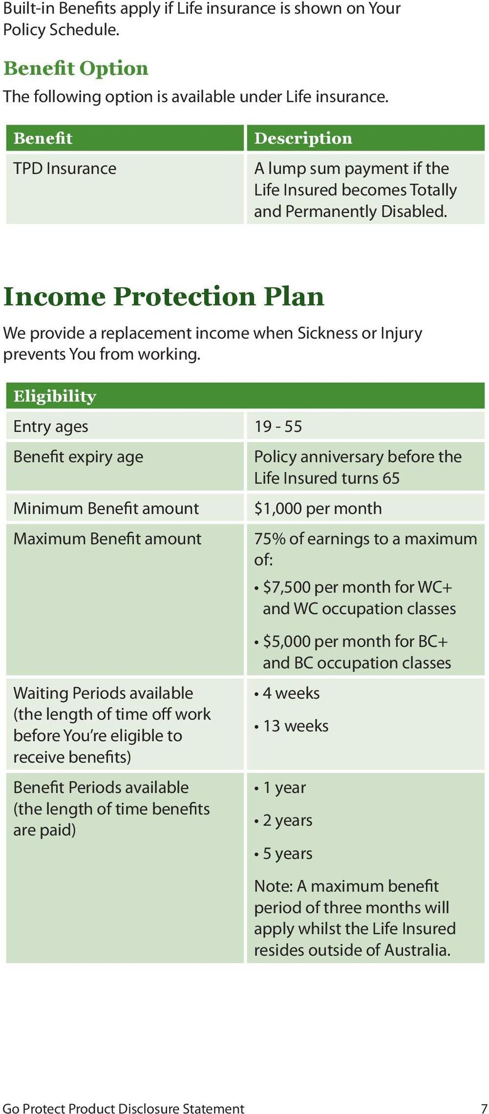 Income Protection Plan We provide a replacement income when Sickness or Injury prevents You from working.
