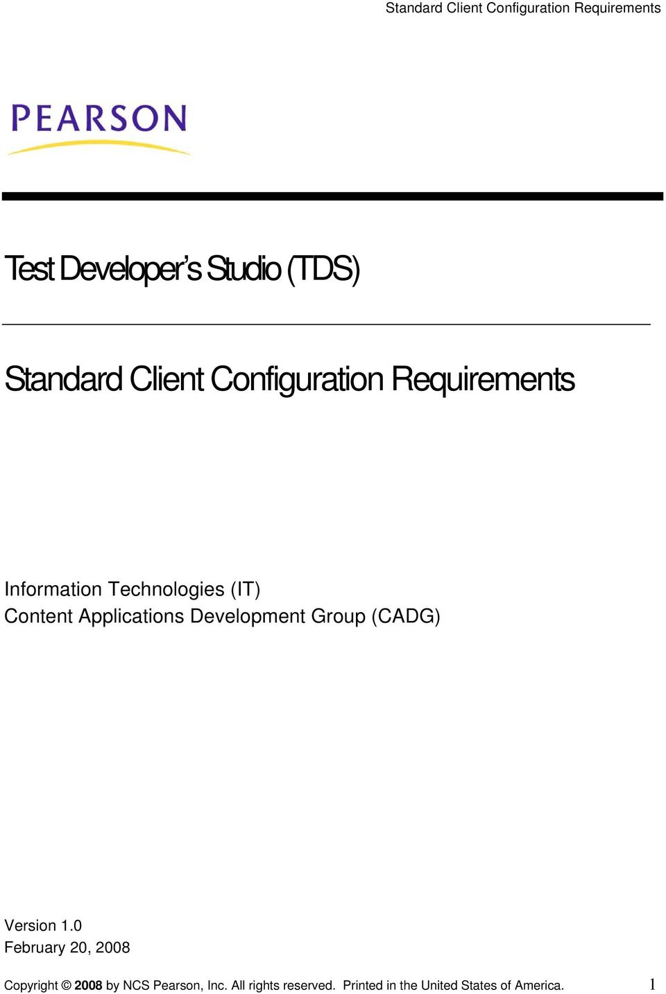 Development Group (CADG) Version 1.