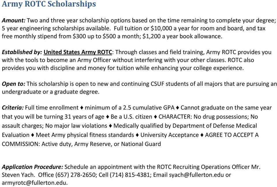 Established by: United States Army ROTC: Through classes and field training, Army ROTC provides you with the tools to become an Army Officer without interfering with your other classes.