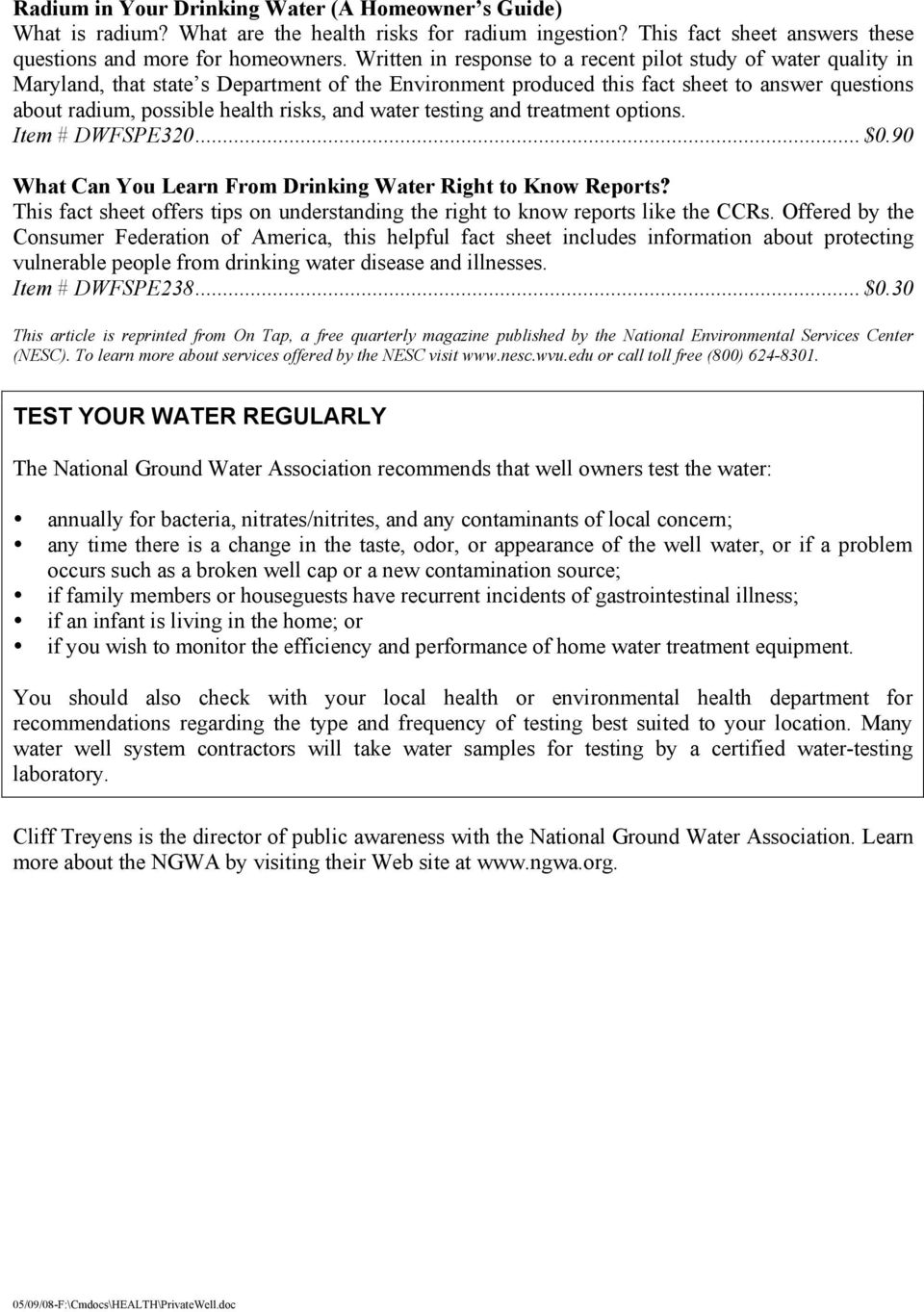 and water testing and treatment options. Item # DWFSPE320... $0.90 What Can You Learn From Drinking Water Right to Know Reports?