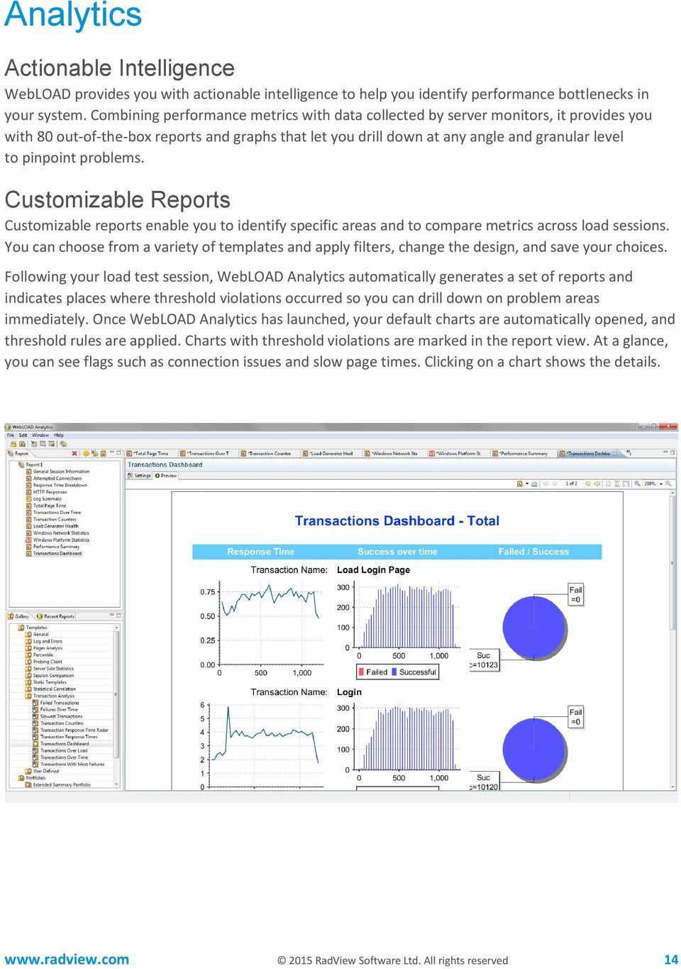 problems. Customizable Reports Customizable reports enable you to identify specific areas and to compare metrics across load sessions.