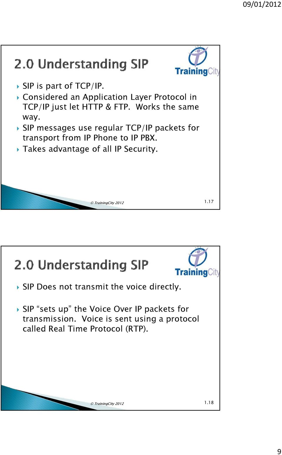 Takes advantage of all IP Security. TrainingCity 2012 1.17 SIP Does not transmit the voice directly.