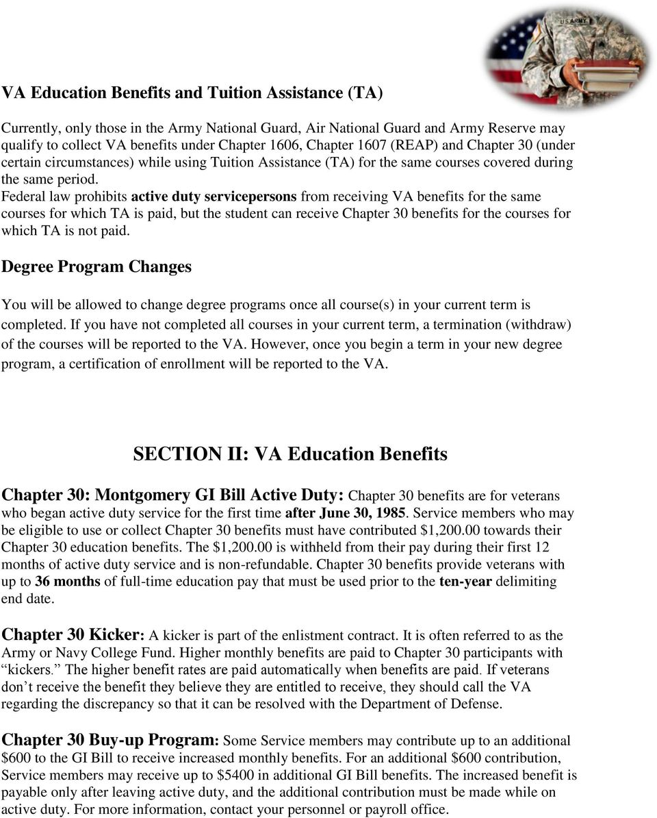 Federal law prohibits active duty servicepersons from receiving VA benefits for the same courses for which TA is paid, but the student can receive Chapter 30 benefits for the courses for which TA is