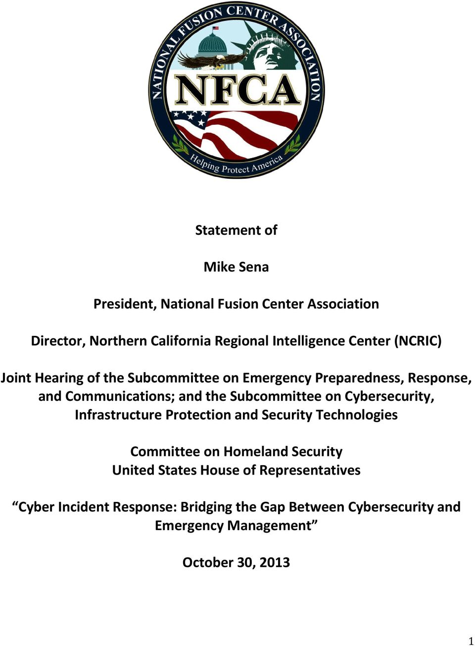 Subcommittee on Cybersecurity, Infrastructure Protection and Security Technologies Committee on Homeland Security United