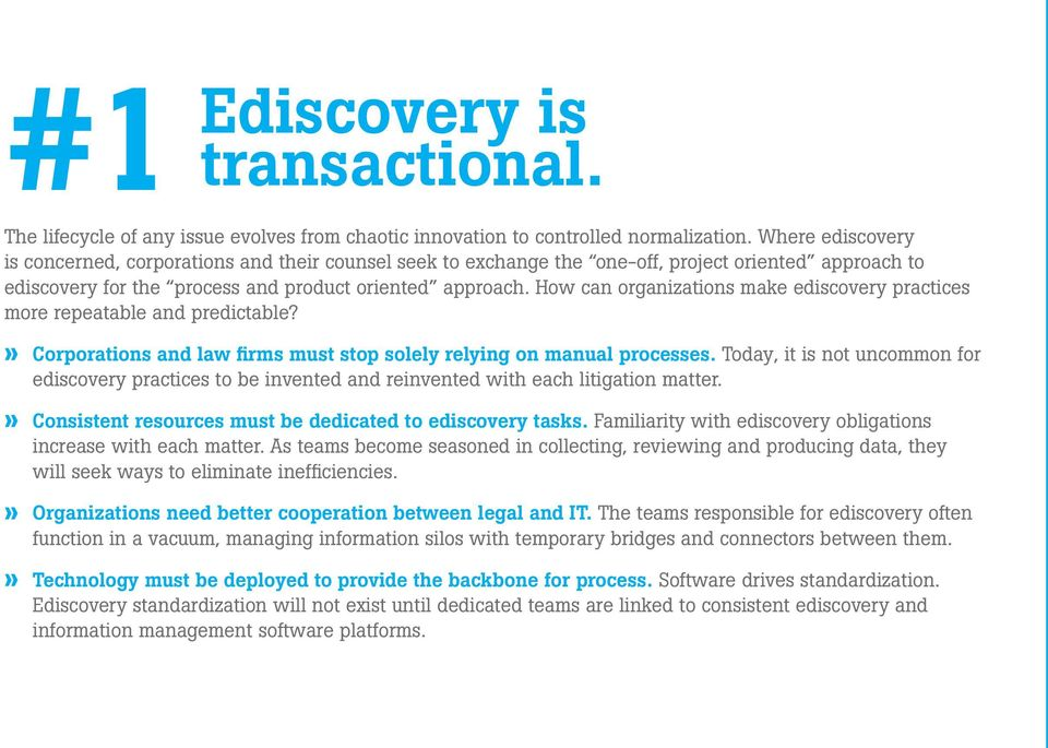 How can organizations make ediscovery practices more repeatable and predictable?» Corporations and law firms must stop solely relying on manual processes.