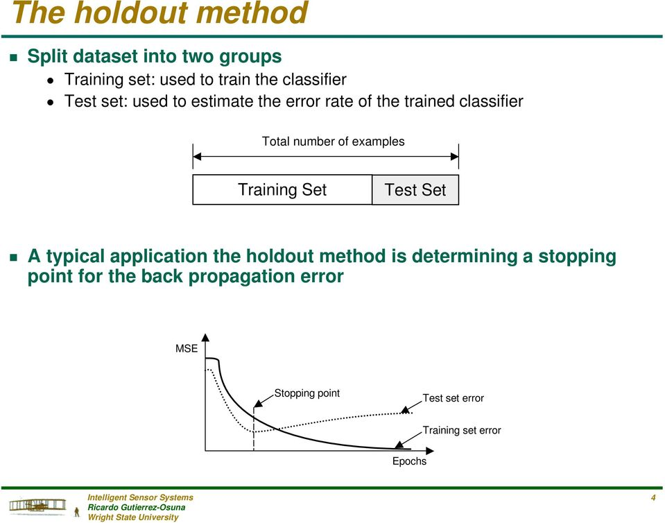 of examples Training Set Test Set g A typical application the holdout method is determining a