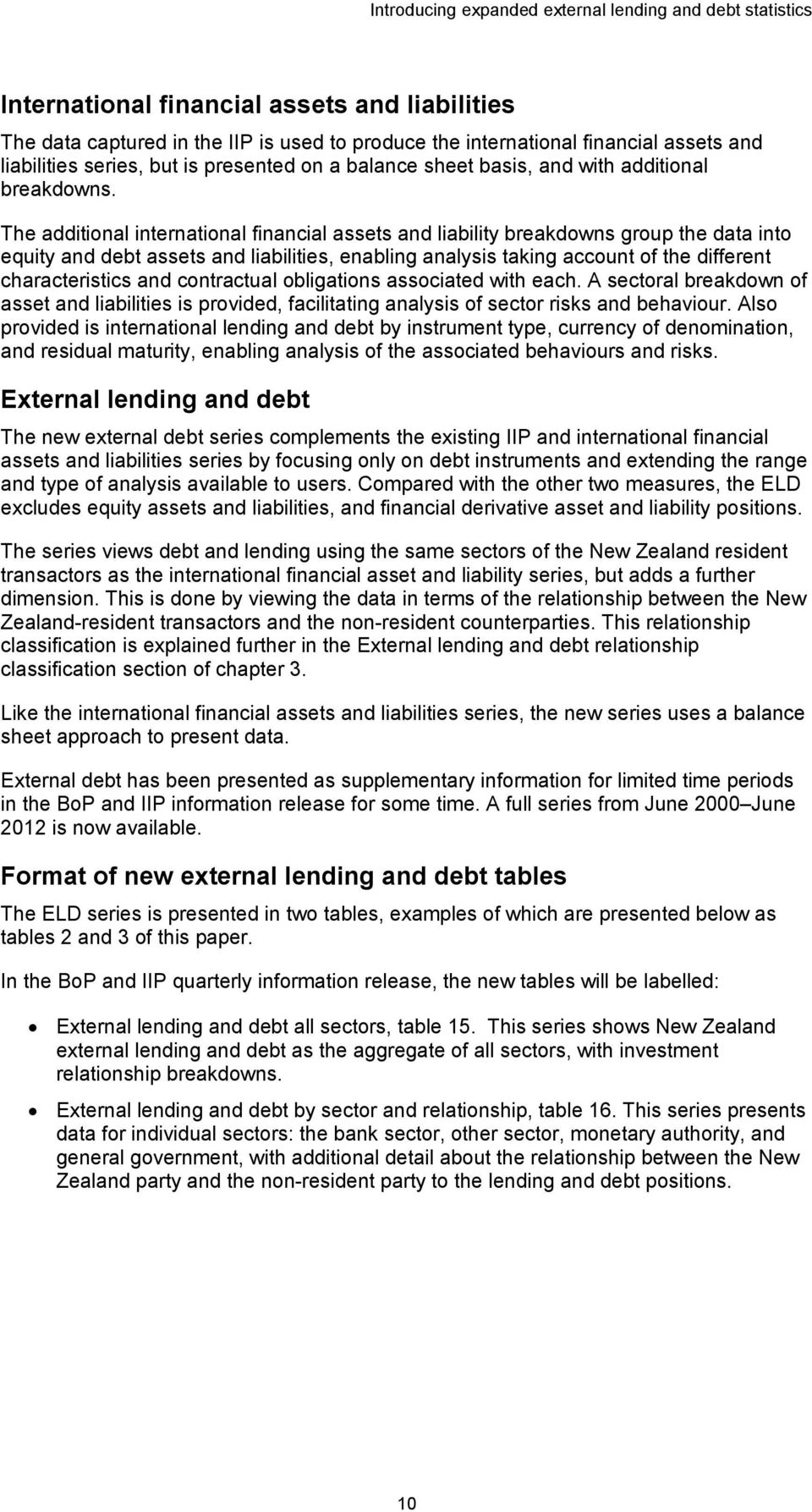 The additional international financial assets and liability breakdowns group the data into equity and debt assets and liabilities, enabling analysis taking account of the different characteristics