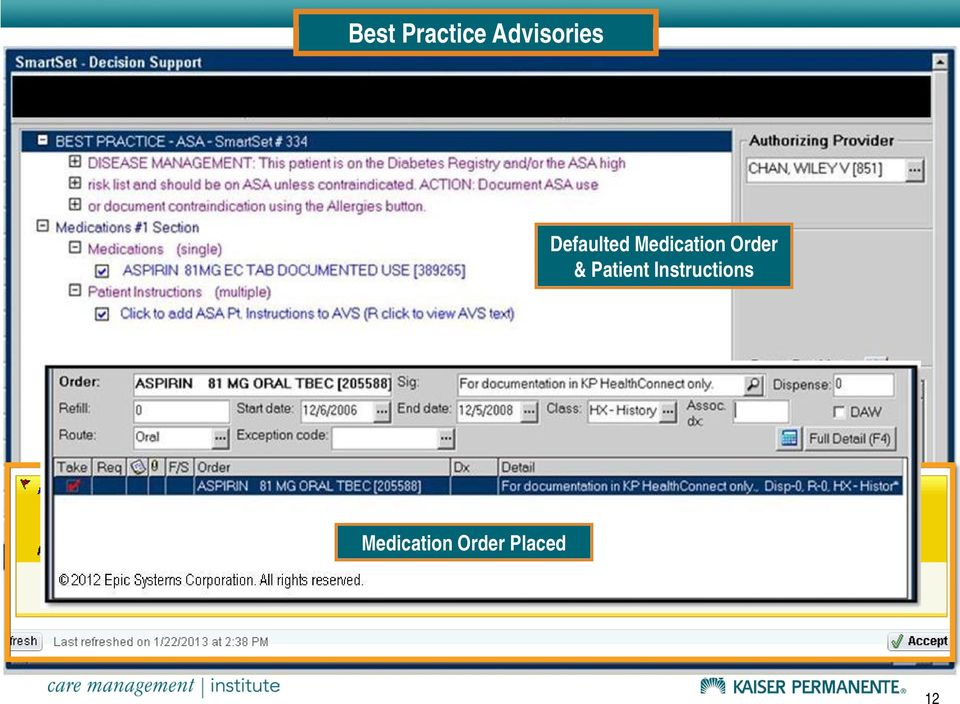 Defaulted Medication Order &