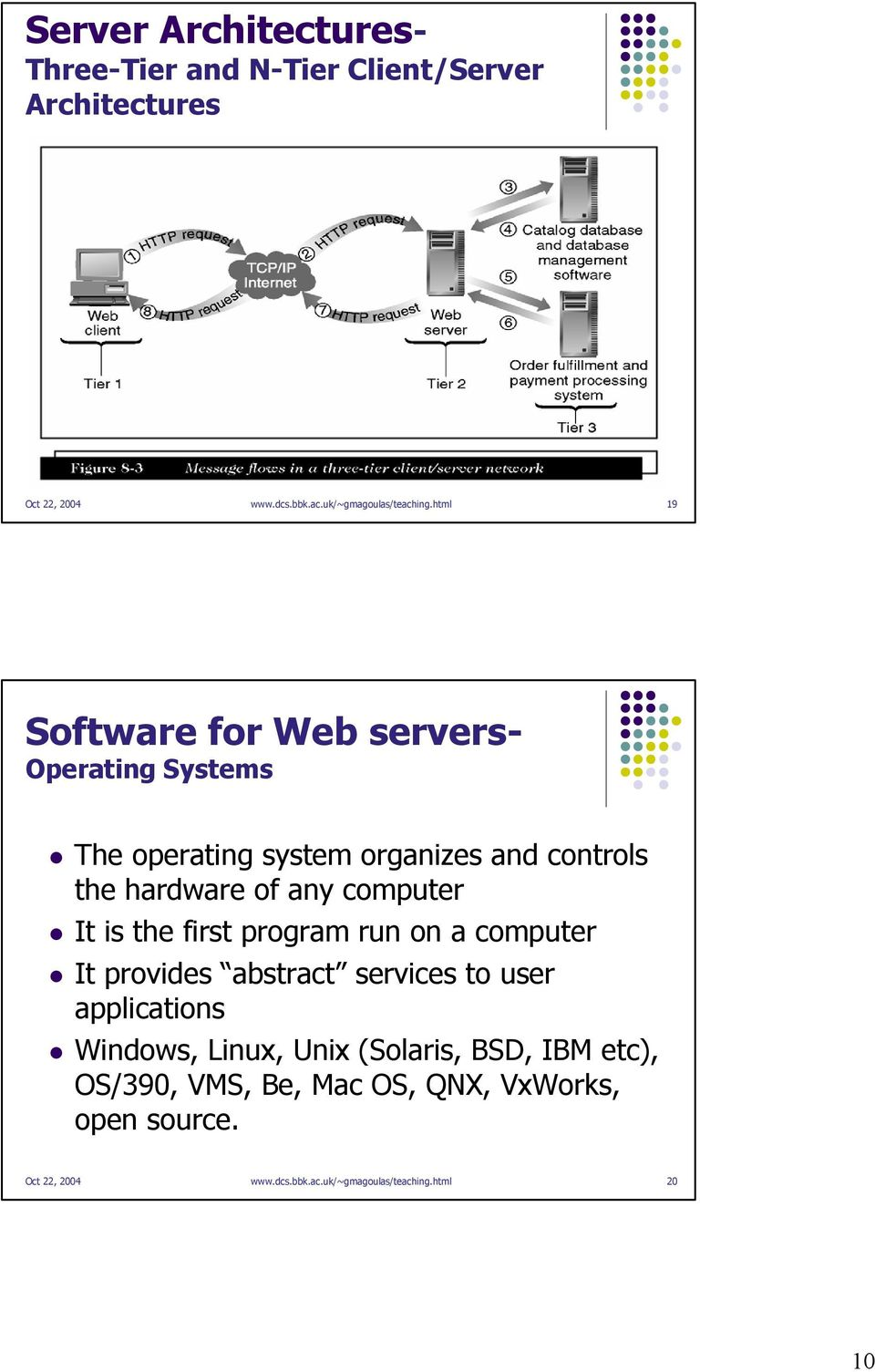 It is the first program run on a computer It provides abstract services to user applications Windows, Linux, Unix (Solaris,