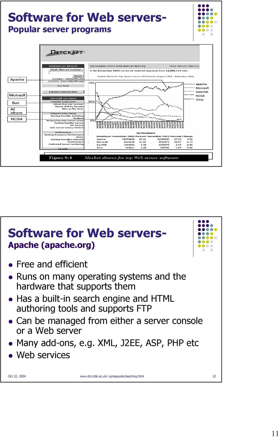 org) Free and efficient Runs on many operating systems and the hardware that supports them Has a built-in search engine