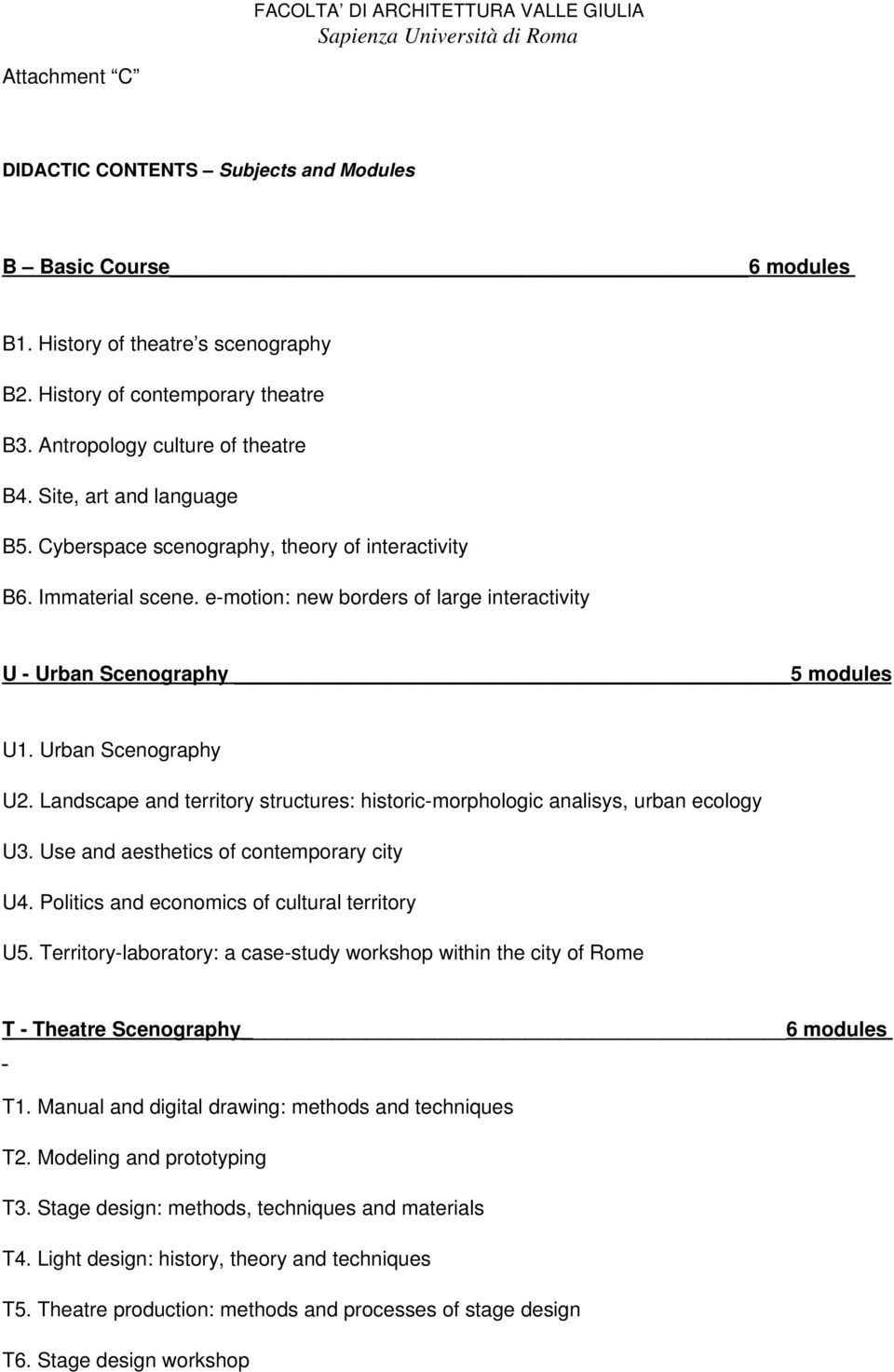 Landscape and territory structures: historic morphologic analisys, urban ecology U3. Use and aesthetics of contemporary city U4. Politics and economics of cultural territory U5.