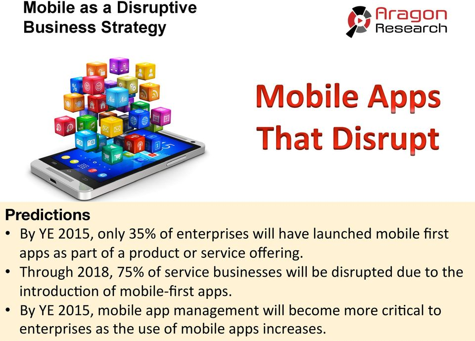 Through 2018, 75% of service businesses will be disrupted due to the introduc'on of mobile-