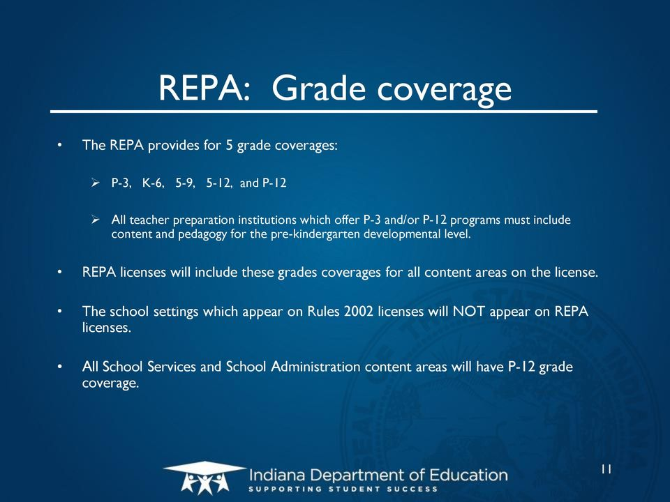 REPA licenses will include these grades coverages for all content areas on the license.