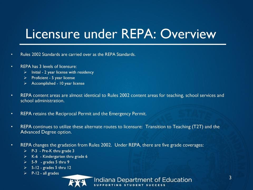 content areas for teaching, school services and school administration. REPA retains the Reciprocal Permit and the Emergency Permit.