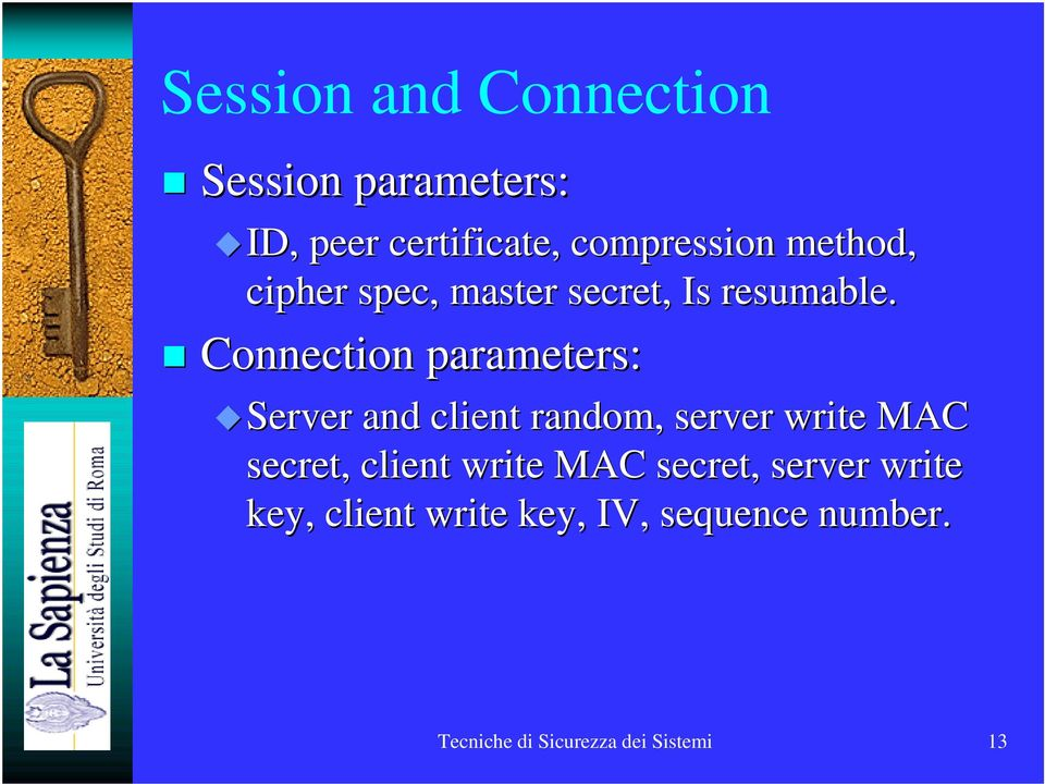 Connection parameters: Server and client random, server write MAC secret,