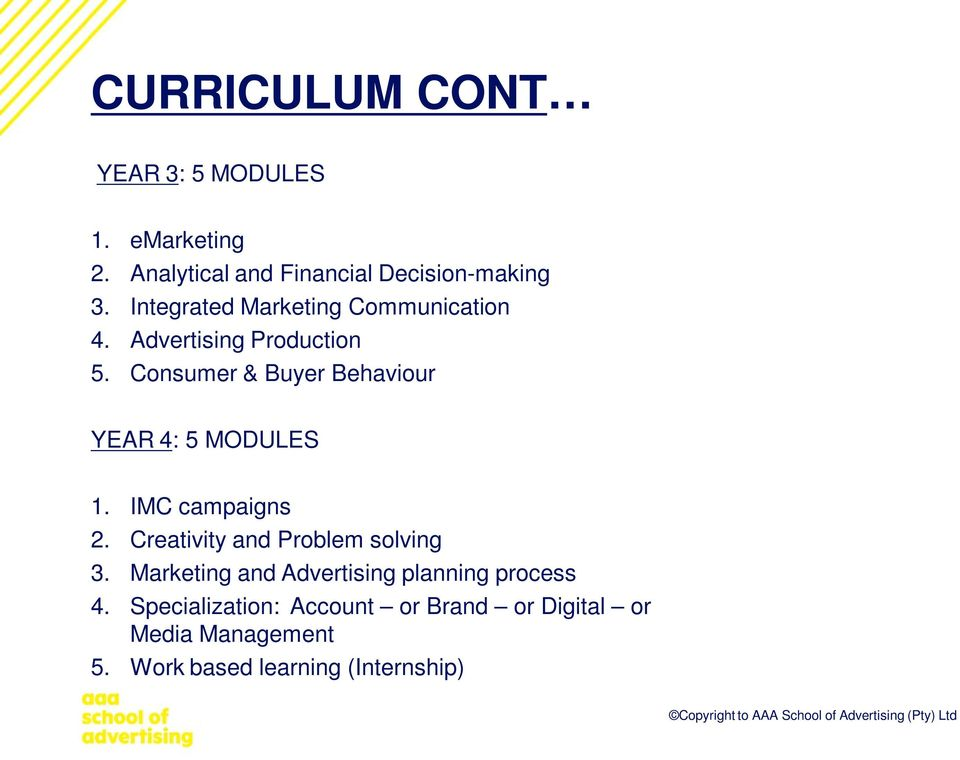 Consumer & Buyer Behaviour YEAR 4: 5 MODULES 1. IMC campaigns 2. Creativity and Problem solving 3.