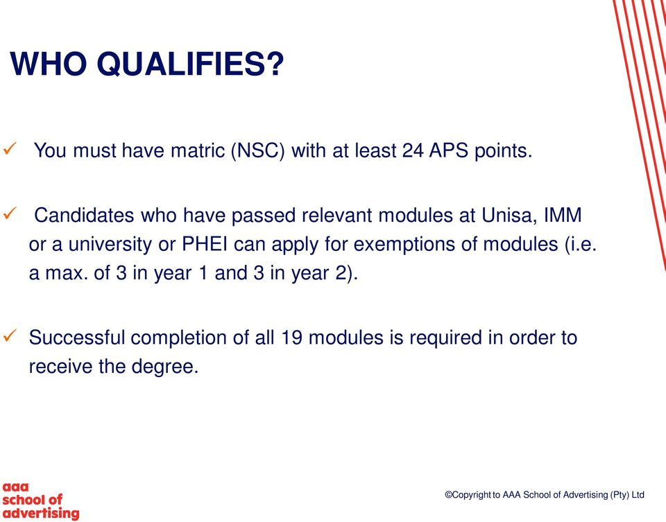 PHEI can apply for exemptions of modules (i.e. a max.