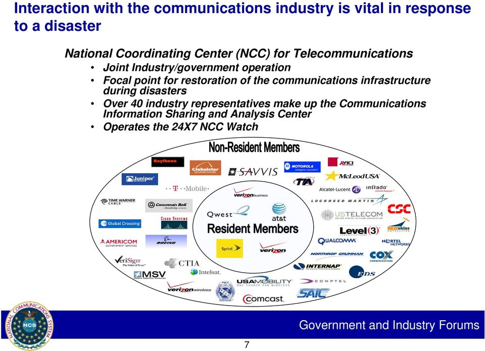 the communications infrastructure during disasters Over 40 industry representatives make up the