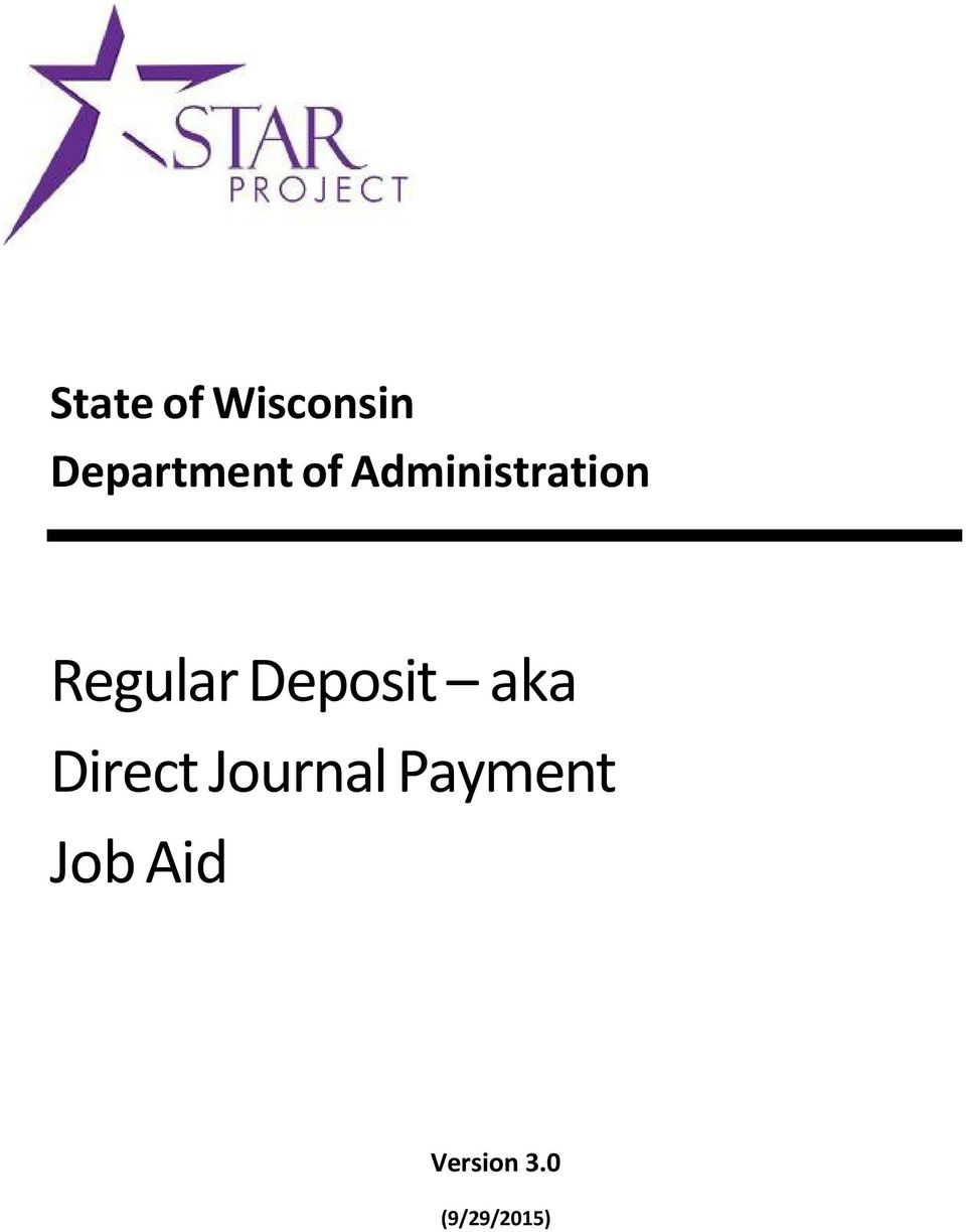 Deposit aka Direct Journal