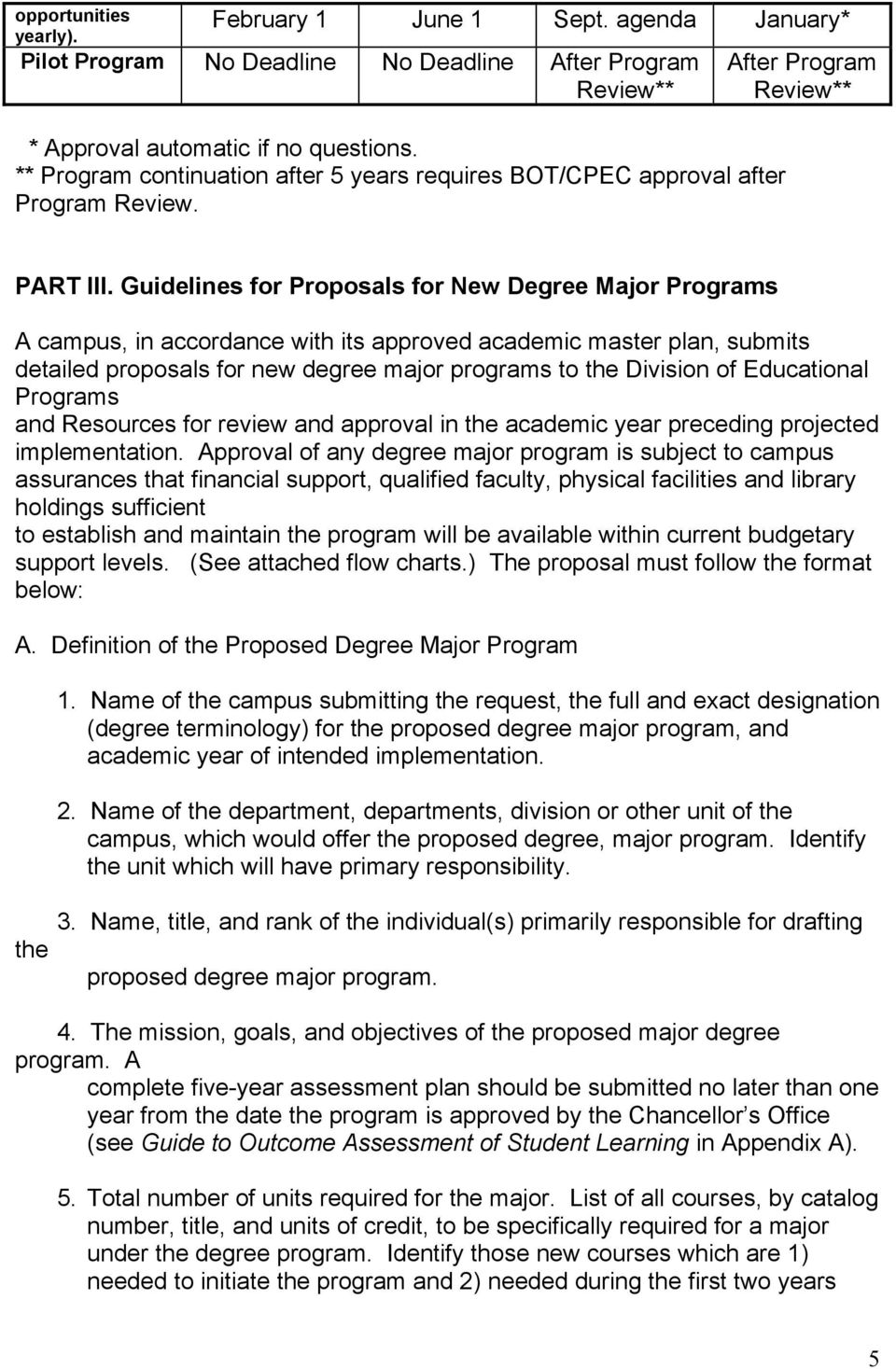 Guidelines for Proposals for New Degree Major Programs A campus, in accordance with its approved academic master plan, submits detailed proposals for new degree major programs to the Division of