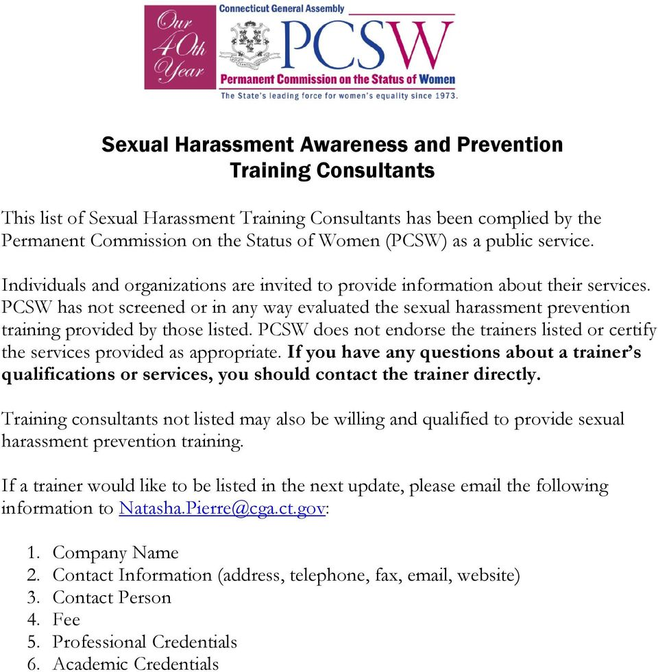 PCSW has not screened or in any way evaluated the sexual harassment prevention training provided by those listed.