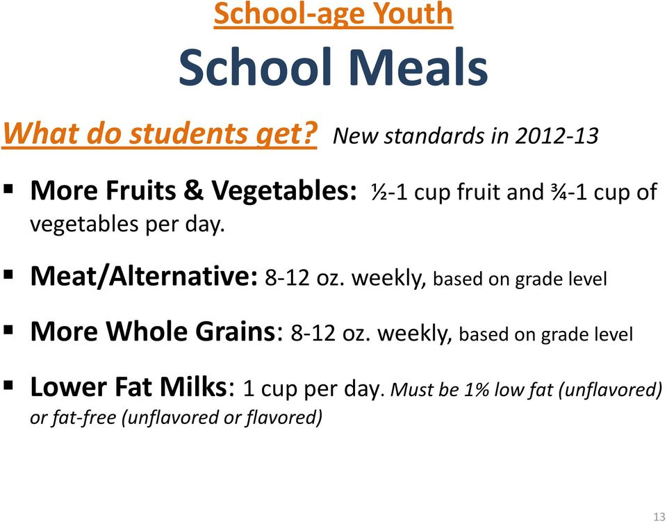 per day. Meat/Alternative: 8-12 oz. weekly, based on grade level More Whole Grains: 8-12 oz.
