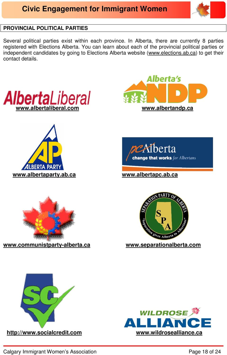 You can learn about each of the provincial political parties or independent candidates by going to Elections Alberta website (www.elections.ab.ca) to get their contact details.