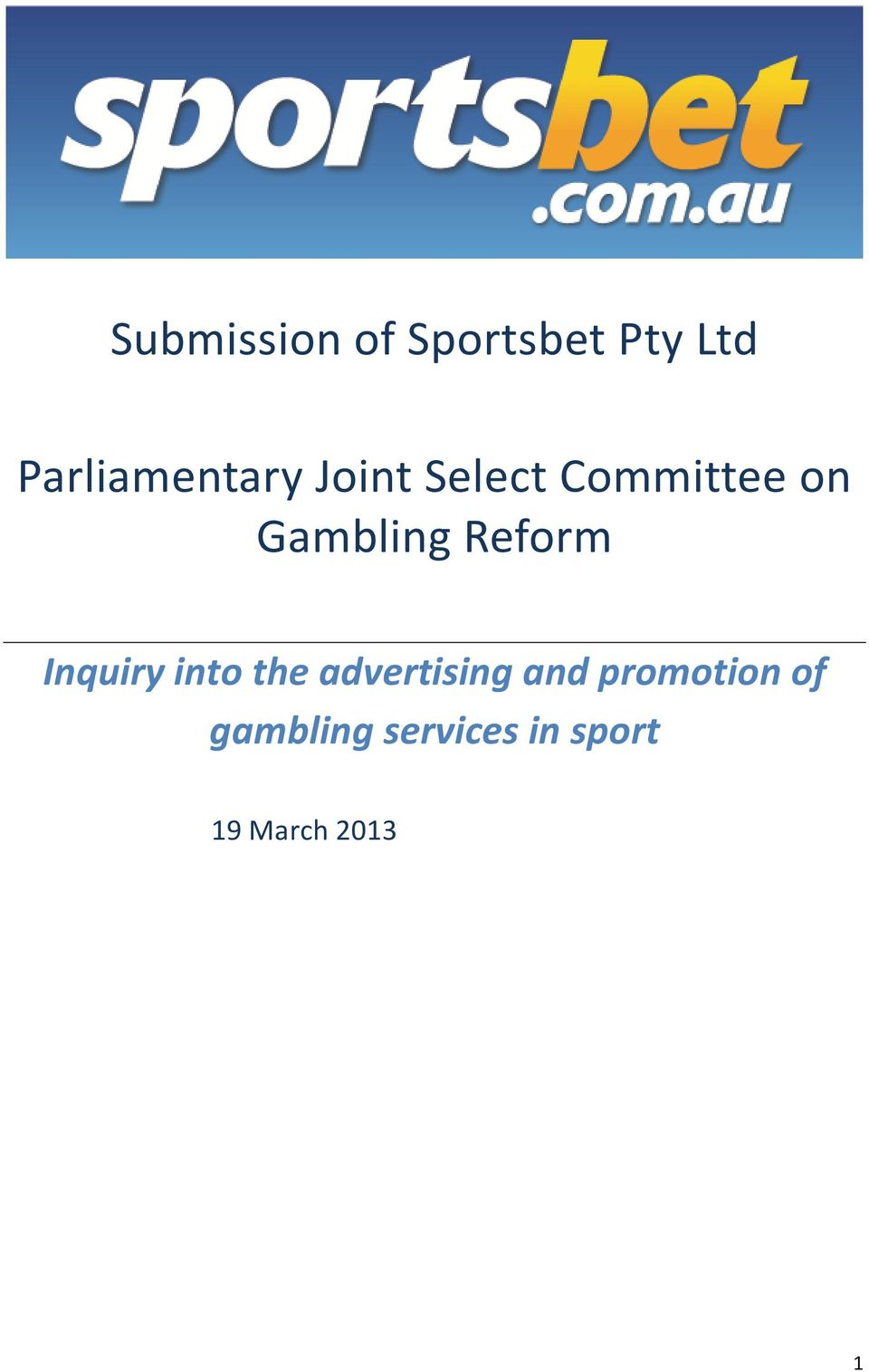 Gambling Reform Inquiry into the