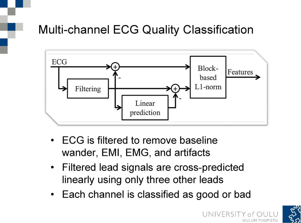 Filtered lead signals are cross-predicted linearly using