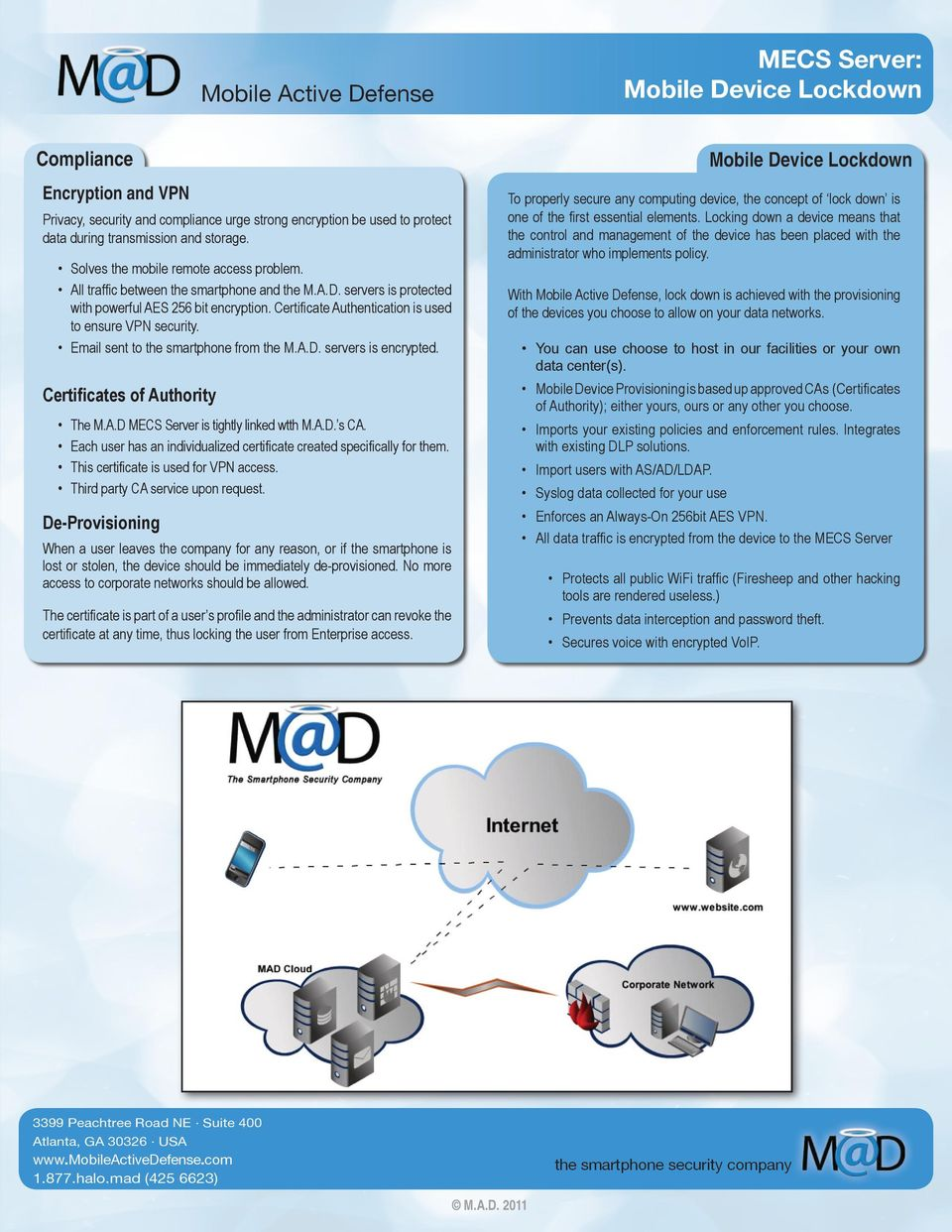 Certificate Authentication is used to ensure VPN security. Email sent to the smartphone from the M.A.D. servers is encrypted. Certificates of Authority The M.A.D MECS Server is tightly linked wtth M.