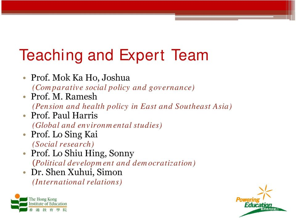 Ramesh (Pension and health policy in East and Southeast Asia) Prof.