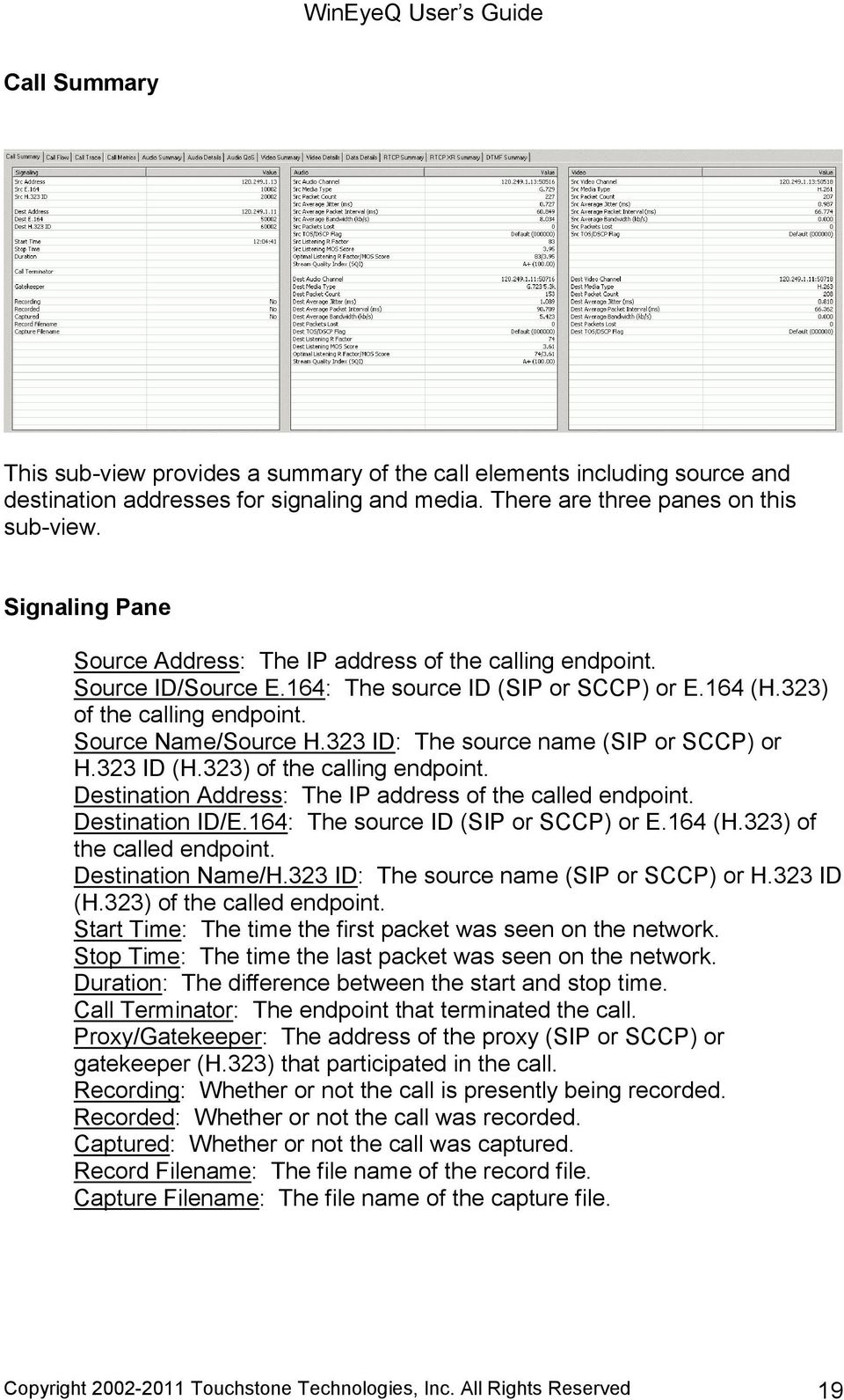 323 ID: The source name (SIP or SCCP) or H.323 ID (H.323) of the calling endpoint. Destination Address: The IP address of the called endpoint. Destination ID/E.164: The source ID (SIP or SCCP) or E.