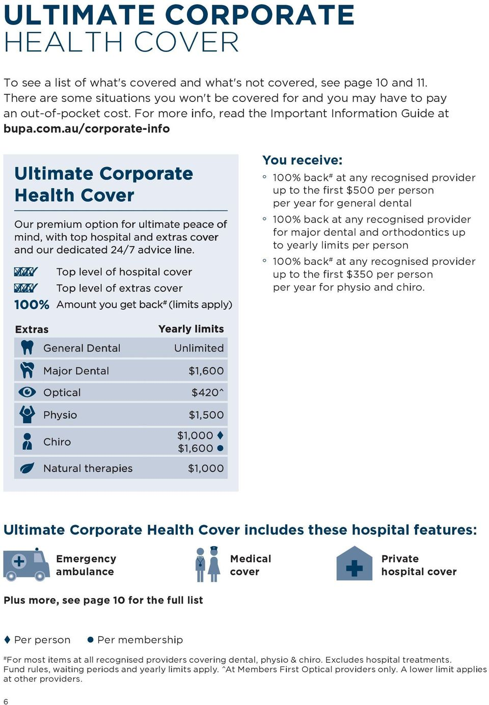 au/corporate-info Ultimate Corporate Health Cover Our premium option for ultimate peace of mind, with top hospital and extras cover and our dedicated 24/7 advice line.